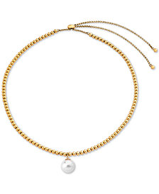 "Majorica Gold-Tone Imitation Pearl Beaded 4-1/3"" Slider Necklace"