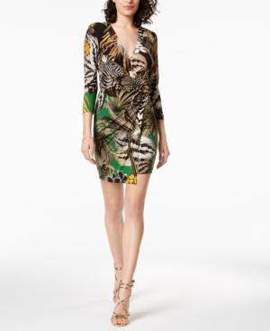 Just Cavalli PRINTED FAUX-WRAP SHEATH DRESS