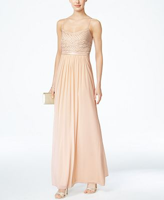 Adrianna Papell Beaded Chiffon Gown Dresses Women Macys