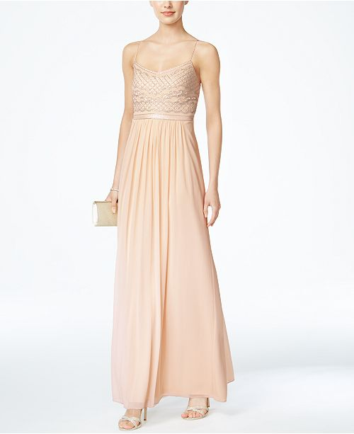 Adrianna Papell Beaded Chiffon Gown Dresses Women Macys