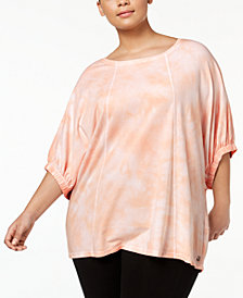 Calvin Klein Performance Plus Size Relaxed Tie-Dyed T-Shirt