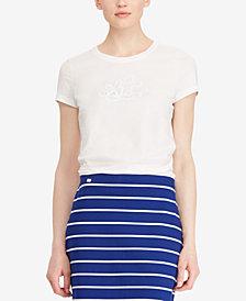 Lauren Ralph Lauren Embroidered Monogram Cotton T-Shirt