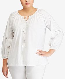 Lauren Ralph Lauren Plus Size Tie-Neck Cotton Top