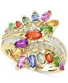 EFFY® Multi-Gemstone (3 ct. t.w) & Diamond (1/5 ct. t.w) Statement Ring in 14k Yellow Gold
