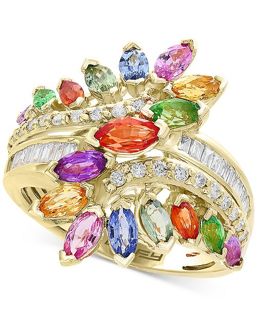 EFFY Collection EFFY® Multi-Gemstone (3 ct. t.w) & Diamond (1/5 ct. t.w) Statement Ring in 14k Yellow Gold