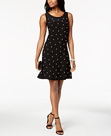 MSK Pearl Embellished-Front A-Line Dress