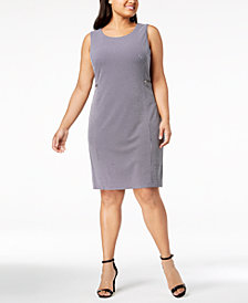 Calvin Klein Plus Size Dot-Print Sheath Dress