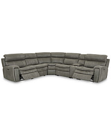 Leilany 6-Pc. Fabric Sectional Sofa with 2 Power Recliners, Power Headrests, Console and USB Power Outlet