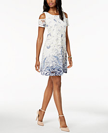 Robbie Bee Petite Cold-Shoulder Lace Dress