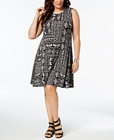 Style & Co Plus Size Printed Swing A-Line Dress, Created for Macy's