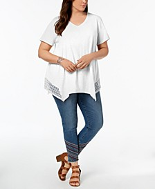 Plus Size Crochet Handkerchief-Hem Top, Created for Macy's