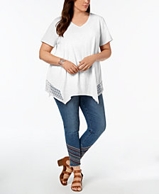 Style & Co Plus Size Crochet Handkerchief-Hem Top, Created for Macy's