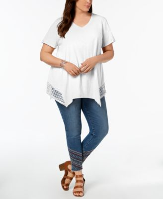 Style & Co Plus Size Crochet Handkerchief-Hem Top Created for Macys