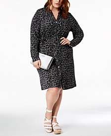 MICHAEL Michael Kors Plus Size Printed Shirtdress