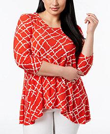 Anne Klein Plus Size High-Low Top