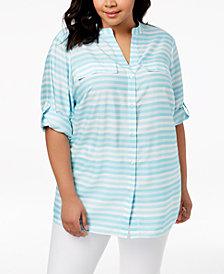 Calvin Klein Plus Size Striped Tunic Shirt