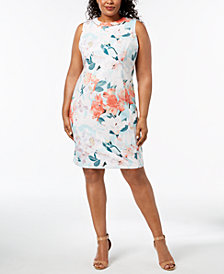 Calvin Klein Plus Size Embellished Floral-Print Sheath Dress