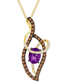 "Le Vian® Grape Amethyst™ (9/10 ct. t.w.) & Diamond (5/8 ct. t.w.) Abstract Swirl 18"" Pendant Necklace in 14k Gold"