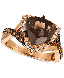 Le Vian® Chocolate Quartz® (2-1/2 ct. t.w.) & Diamond (1/2 ct. t.w.) Ring in 14k Strawberry Gold®