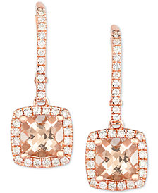 Morganite (1-3/4 ct. t.w.) & Diamond (3/8 ct. t.w.) Drop Earrings in 14k Rose Gold