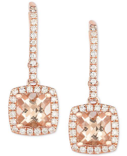 Macy's Morganite (1-3/4 ct. t.w.) & Diamond (3/8 ct. t.w.) Drop Earrings in 14k Rose Gold