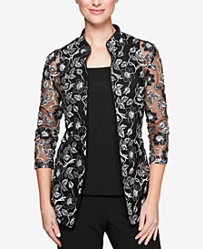 Alex Evenings Sheer Embroidered Jacket & Shell