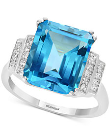 EFFY® Blue Topaz (6-3/8 ct. t.w.) & Diamond (1/10 ct. t.w.) Ring in 14k White Gold