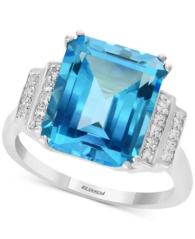 EFFY® Blue Topaz (6-3/8 ct. t.w.) & Diamond (1/10 ct. t.w.) Ring in 14k White Gold