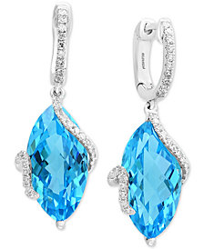 Ocean Bleu by EFFY® Blue Topaz (13-3/4 ct. t.w.) & Diamond (1/4 ct. t.w.) Drop Earrings in 14k White Gold