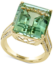 EFFY® Green Amethyst (16 ct. t.w.) & Diamond (1/3 ct. t.w.) in 14k Gold