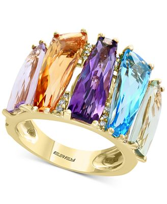 Mosaic by EFFY® Multi-Gemstone (10-1/4 ct. t.w.) & Diamond Accent Statement Ring in 14k Gold
