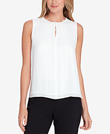 Tahari ASL Lace-Trim Keyhole Top, Regular & Petite
