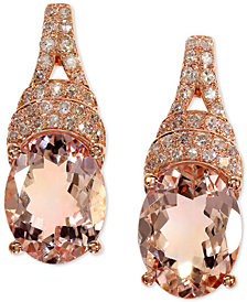 EFFY® Morganite (3-1/3 ct. t.w.) & Diamond (1/5 ct. t.w.) Drop Earrings in 14k Rose Gold