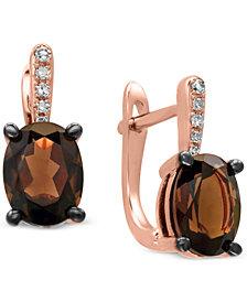 EFFY® Smoky Quartz (2 ct. t.w.) & Diamond Accent Drop Earrings in 14k Rose Gold