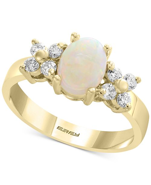 EFFY Collection EFFY® Opal (2/3 ct. t.w.) & Diamond (1/3 ct. t.w.) Ring in 14k Gold
