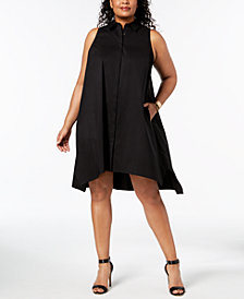Alfani Plus Size Trapeze Shirtdress, Created for Macy's