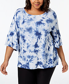 Calvin Klein Performance Plus Size Tie-Dyed Ruffled-Sleeve Top
