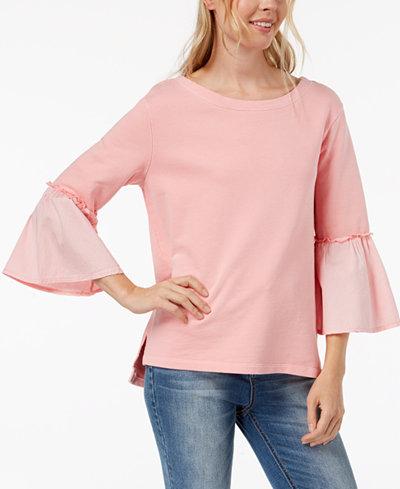 Sanctuary Cotton Woven-Sleeve Sweatshirt