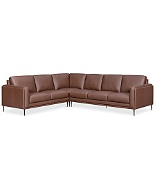 CLOSEOUT! Maida 3-Pc. Leather Sectional with Sofa & Loveseat