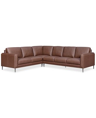 Furniture Maida 3 Pc Leather Sectional With Sofa Loveseat