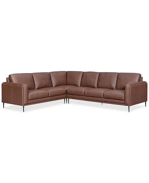 CLOSEOUT! Maida 3-Pc. Leather Sectional with Sofa ...