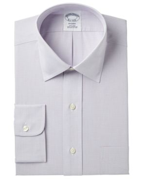 BROOKS BROTHERS Men'S Regent Classic/Regular Fit Non-Iron Broadcloth Stretch Micro Check Dress Shirt in Rd Bl Mcr Chk