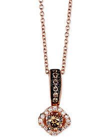 "Le Vian Chocolatier® Diamond Halo 18"" Pendant Necklace (3/8 ct. t.w.) in 14k Rose Gold"