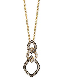 "Le Vian Chocolatier® Diamond Interlocking Ring 18"" Pendant Necklace (1/4 ct. t.w.) in 14k Gold"