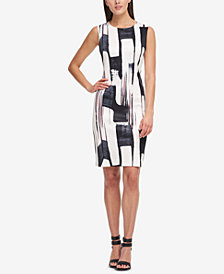 DKNY Brushstroke-Print Sheath Dress, Created for Macy's
