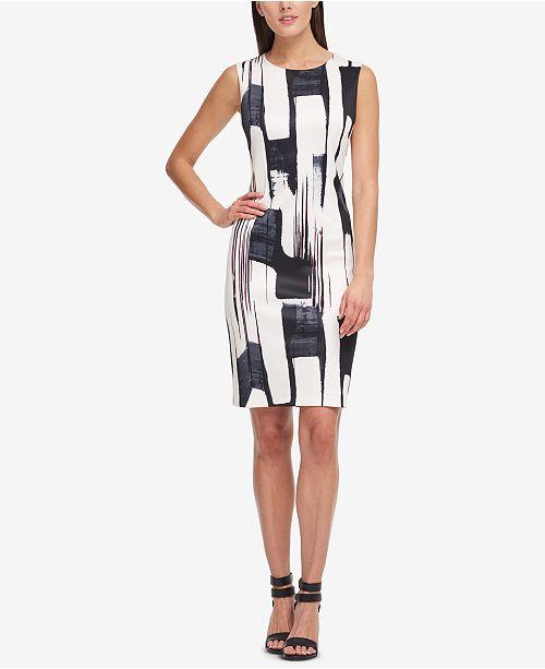 Brushstroke-Print Sheath Dress, Created for Macy's