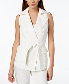 Anne Klein Belted Double-Breasted Vest