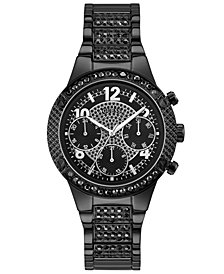 GUESS Women's Crystal Accent Black Stainless Steel Bracelet Watch U0850L4