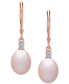Blush Cultured Freshwater Pearl (8mm) & Diamond Accent Drop Earrings in 14k Rose Gold