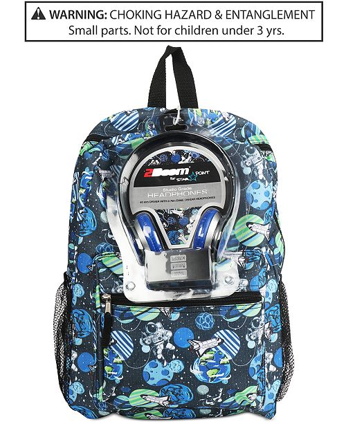 61e1e36cc8 FAB Little   Big Boys Galaxy-Print Backpack   Headphones ...
